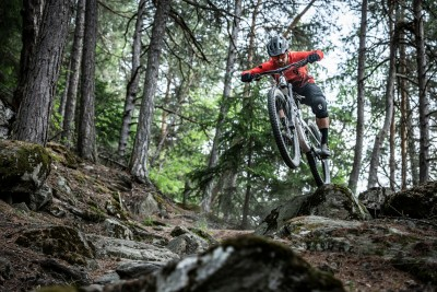 Action beim Mountainbiken